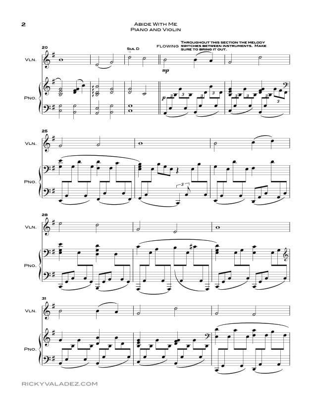 Abide With Me Sheet Music For Piano Violin And Viola Ricky Valadez
