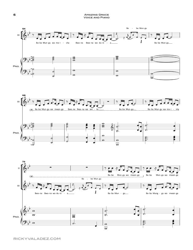Amazing Grace Sheet Music for Piano and Voice-06
