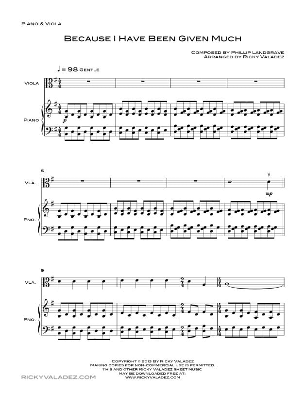 Free Lds Sheet Music And Lds Hymns Arrangements Ricky Valadez Part 2