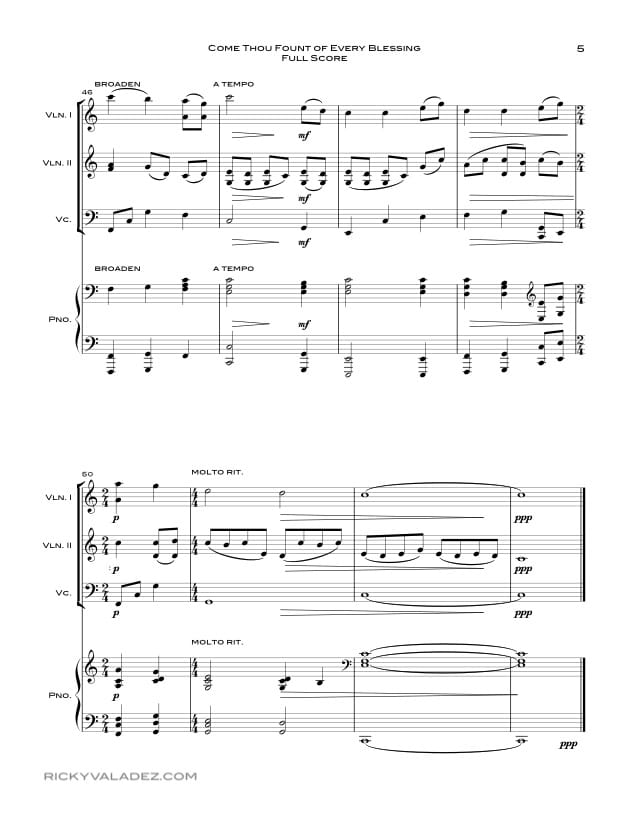 Come Thou Fount Of Every Blessing Sheet Music for Piano, 2 Violins and Cello-05