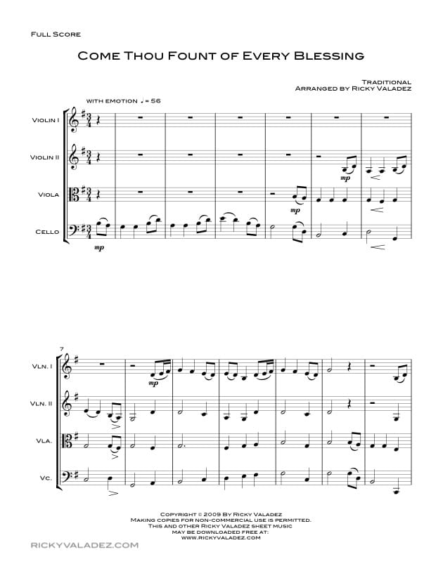 Come Thou Fount Of Every Blessing Sheet Music for 2 Violins, Viola and Cello-01