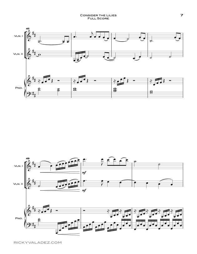 Consider the Lilies Sheet Music for Piano,  and 2 Violins-07