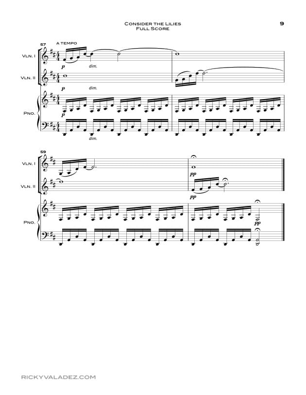 Consider the Lilies Sheet Music for Piano,  and 2 Violins-09