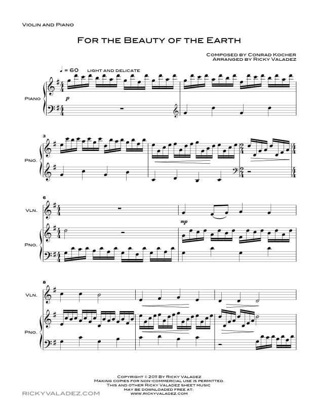 For the Beauty of the Earth Sheet Music for Piano and Violin-01