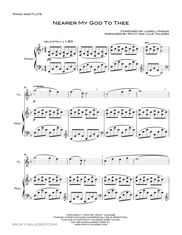 image relating to Printable Flute Sheet Music called Closer My God towards Thee Sheet Tunes for Piano, Violin and