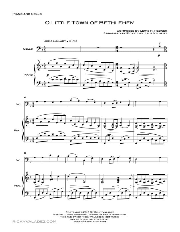 O Little Town Of Bethlehem  Sheet Music for Piano and Cello-01