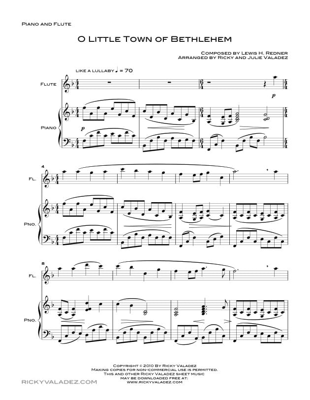 O Little Town Of Bethlehem  Sheet Music for Piano and Flute-01