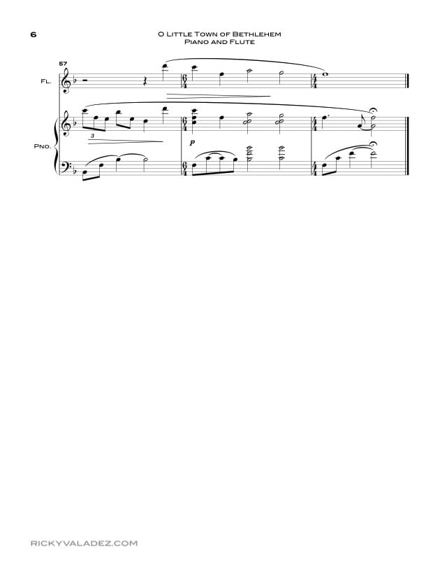 O Little Town Of Bethlehem  Sheet Music for Piano and Flute-06