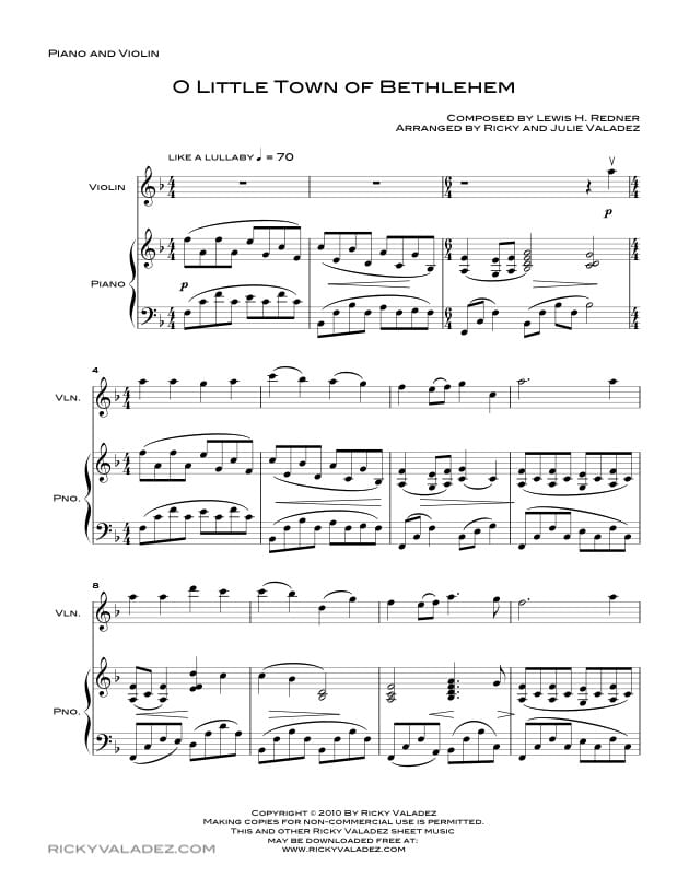 O Little Town Of Bethlehem  Sheet Music for Piano and Violin-01