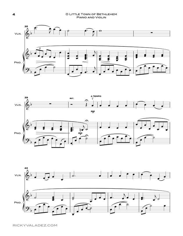 O Little Town Of Bethlehem  Sheet Music for Piano and Violin-04