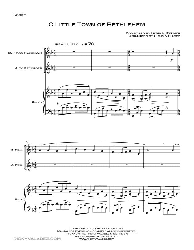 O Little Town Of Bethlehem  Sheet Music for Soprano Recorder and Alto  Recorder-01