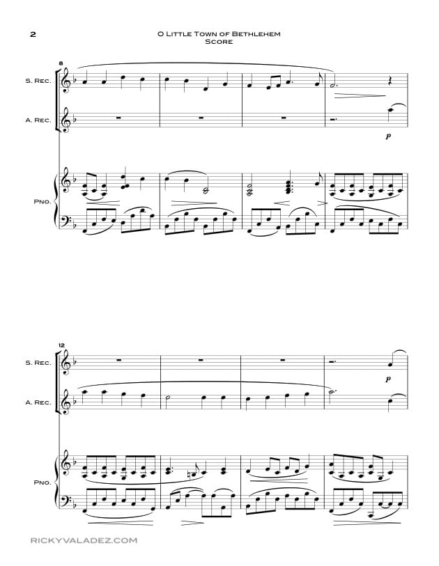 O Little Town Of Bethlehem  Sheet Music for Soprano Recorder and Alto  Recorder-02