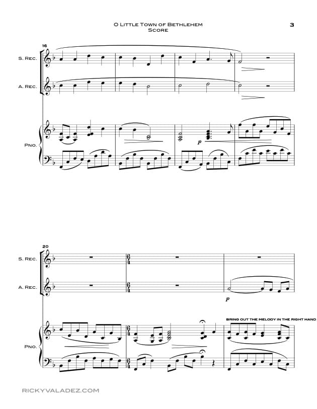 O Little Town Of Bethlehem  Sheet Music for Soprano Recorder and Alto  Recorder-03