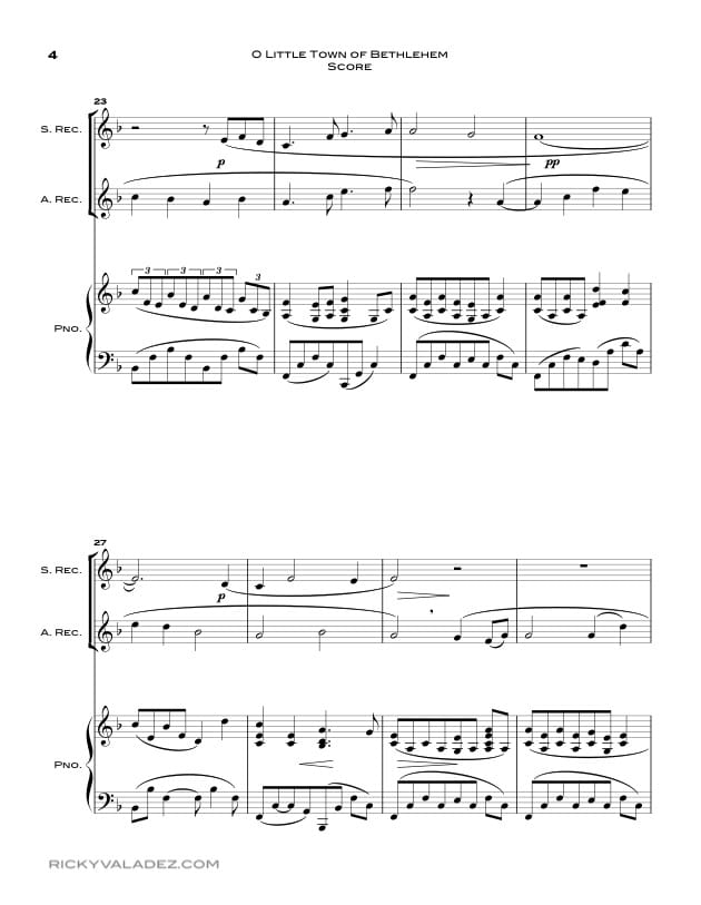 O Little Town Of Bethlehem  Sheet Music for Soprano Recorder and Alto  Recorder-04