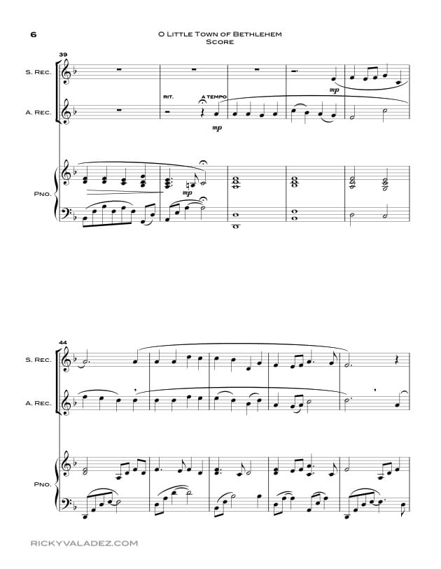 O Little Town Of Bethlehem  Sheet Music for Soprano Recorder and Alto  Recorder-06