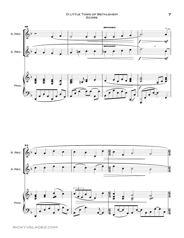 O Little Town Of Bethlehem  Sheet Music for Soprano Recorder and Alto  Recorder-07
