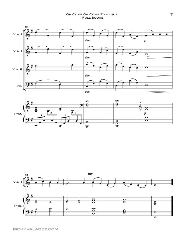 Oh Come Oh Come Emmanuel Sheet Music for Piano, 3 Violins and Cello-07