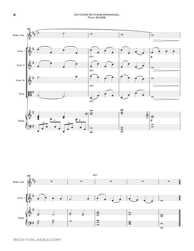 Oh Come Oh Come Emmanuel Sheet Music for 3 Violins, Viola and English Horn-06