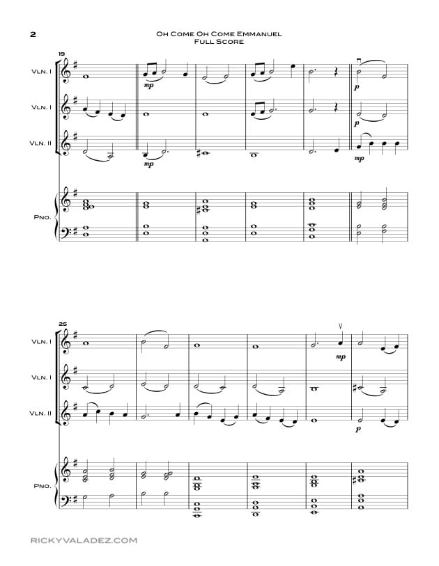 Oh Come Oh Come Emmanuel Sheet Music for Piano and 3 Violins-02