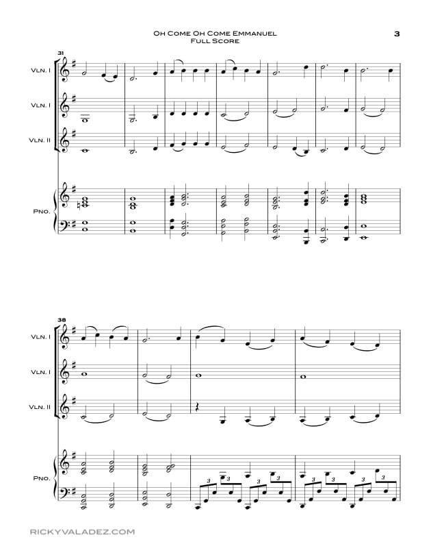 Oh Come Oh Come Emmanuel Sheet Music for Piano and 3 Violins-03
