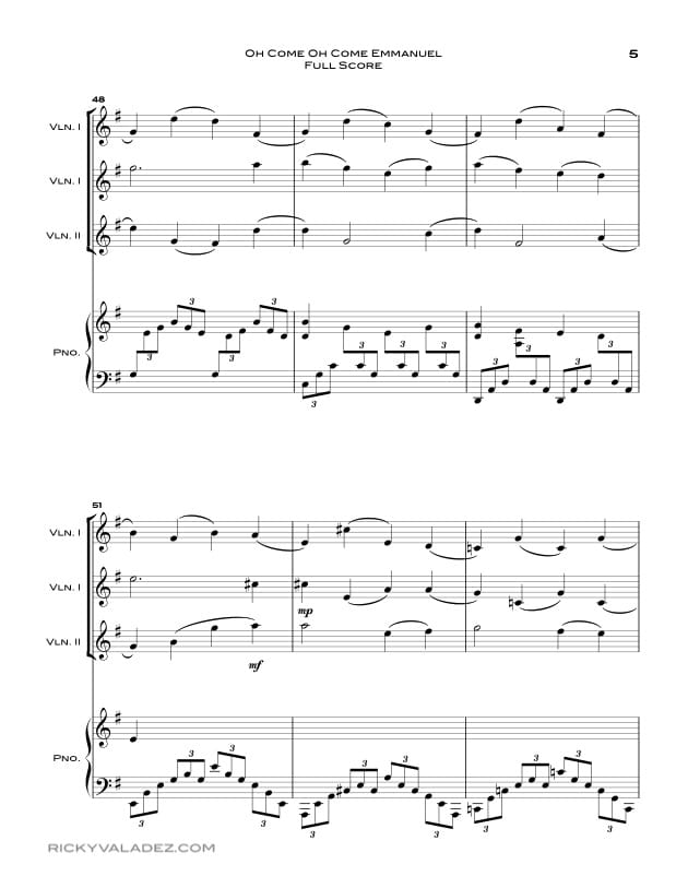 Oh Come Oh Come Emmanuel Sheet Music for Piano and 3 Violins-05