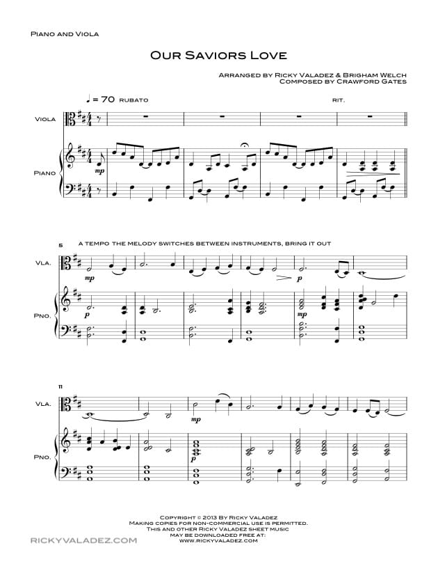 Our Saviors Love Sheet Music for Piano and Viola-01