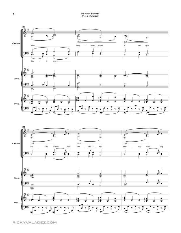 Silent Night Sheet Music for SATB, Piano and Organ-04