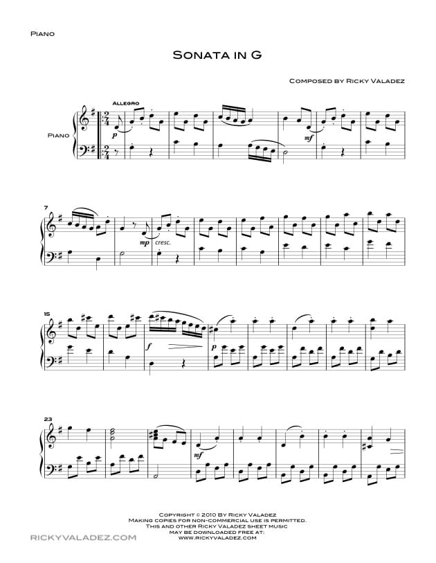 Sonata in G Sheet Music for Piano-01