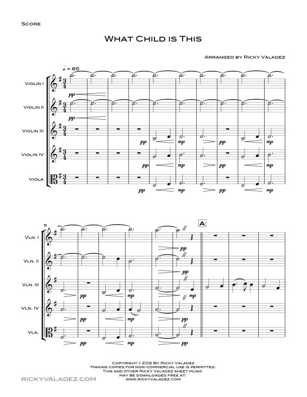 What Child is This Sheet Music for 4 Violins and Viola-01