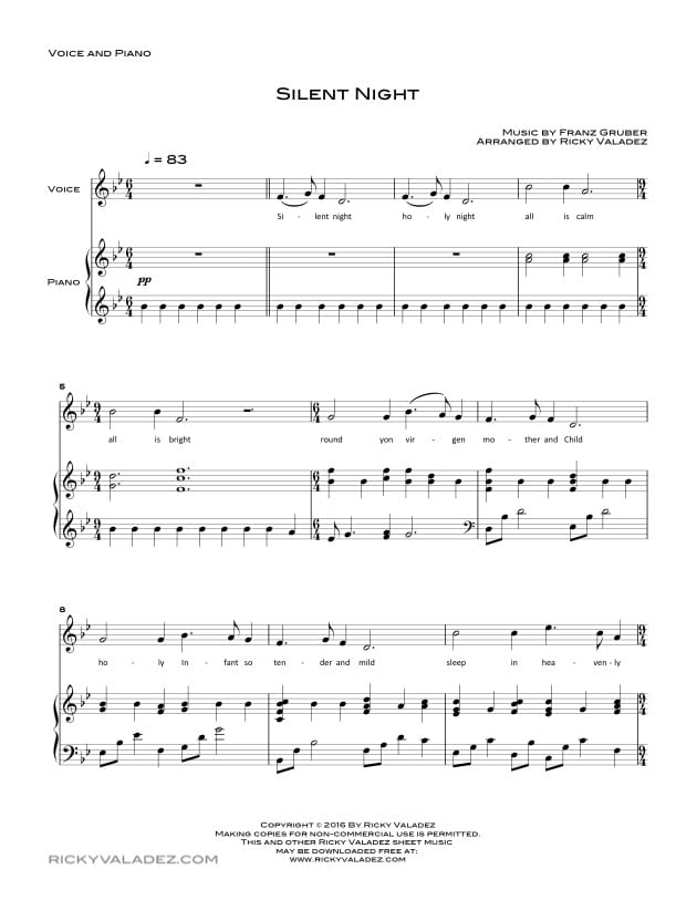 Silent Night sheet music for Piano and Voice-01