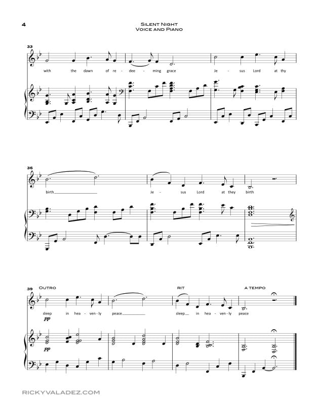 Silent Night sheet music for Piano and Voice-04